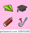 flat icons set - school objects and education items isolated on white background. 045 38805086