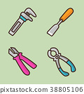 flat icons set - school objects and education items isolated on white background. 058 38805106