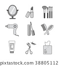Icons set of cosmetics, beauty and symbols collection made in modern linear vector. 009 38805112