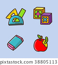 flat icons set - school objects and education items isolated on white background. 049 38805113