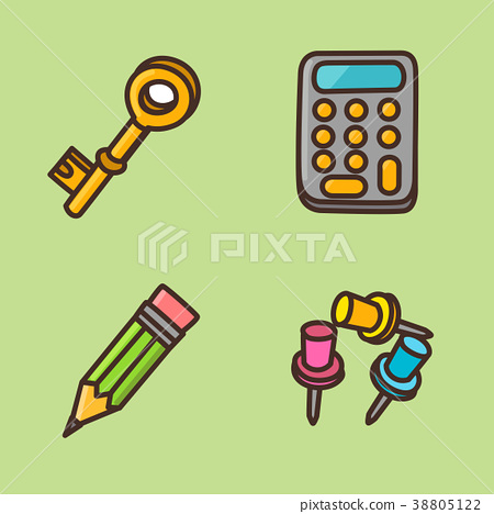 flat icons set - school objects and education items isolated on white background. 031 38805122
