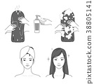 Icons set of cosmetics, beauty and symbols collection made in modern linear vector. 006 38805141