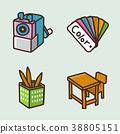 flat icons set - school objects and education items isolated on white background. 074 38805151