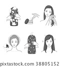 Icons set of cosmetics, beauty and symbols collection made in modern linear vector. 015 38805152