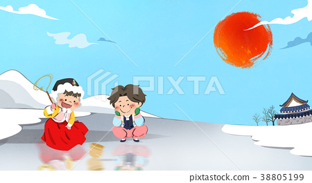 Vector - one boy and one girl playing Korean traditional games and greeting illustration. 002 38805199