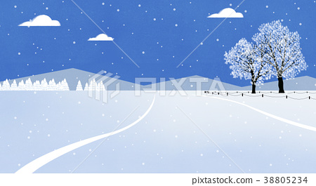 Winter landscape with forest in mountains background flat design illustration. 003 38805234