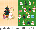 Vector pattern design related of winter season - a lucky bag, magpie, Christmas object and so on. 004 38805235