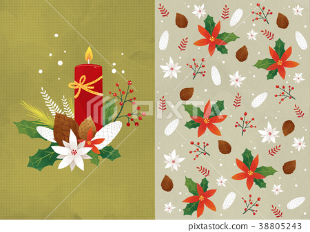 Vector pattern design related of winter season - a lucky bag, magpie, Christmas object and so on. 012 38805243
