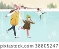 Illustration - Enjoy winter season. Have fun enjoy winter activities with family or friends. 005 38805247