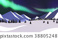 Winter landscape with forest in mountains background flat design illustration. 006 38805248