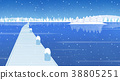 Winter landscape with forest in mountains background flat design illustration. 008 38805251