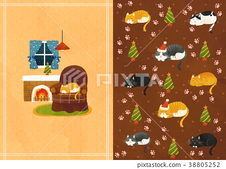 Vector pattern design related of winter season - a lucky bag, magpie, Christmas object and so on. 005 38805252