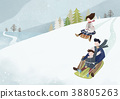 Illustration - Enjoy winter season. Have fun enjoy winter activities with family or friends. 002 38805263