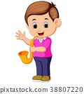 boy plays saxophone 38807220