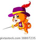 kitten musketeer with sword 38807235