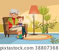 Vector cartoon grandmother reading to boy 38807368