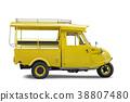 Vintage yellow auto rickshaw taxi on white  38807480