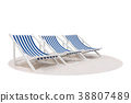 blue and white striped beach chair on the sand  38807489
