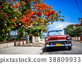 American red convertible vintage car in Cuba 38809933