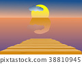 Wooden pier in the sea; sky and sun in dusk time 38810945