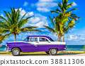 HDR - blue white vintage car on the beach in Cuba 38811306