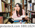 Asian women Sitting in the library A dazed 38811624