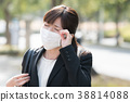 Businesswoman with mask Young woman 38814088
