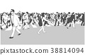 Illustration of large urban crowd crossing zebra 38814094