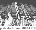 Illustration of city crowd with tall buildings 38814110
