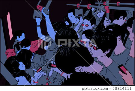 Illustration of people in subway cart in rush hour 38814111