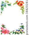 Frame material of four seasons plants drawn by watercolor 38820281
