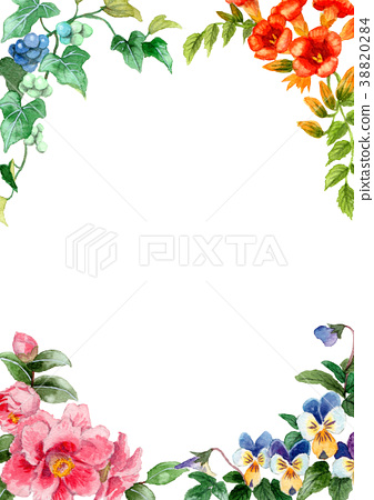Frame material of four seasons plants drawn by watercolor 38820284