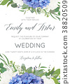 Wedding floral invite card with hydrangea flowers 38820509