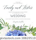 Wedding floral invite card with hydrangea flowers 38820510