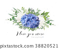 Vector floral tender bouquet of blue hydrangea 38820521