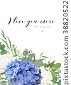 Vector floral card design. Elegant flower bouquet 38820522