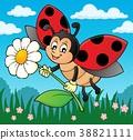 Ladybug holding flower theme image 2 38821111