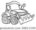 Cartoon Digger Bulldozer 38821594