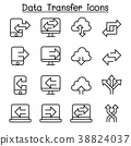 Computer Data Transfer icon set in thin line style 38824037