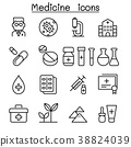 Medicine icon set in thin line style 38824039