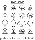 Tree icon set in thin line style 38824041