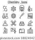 Chemistry icon set in thin line style 38824042