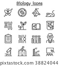 Biology icon set in thin line style 38824044