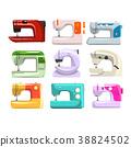 Sewing machine set, modern machine in different 38824502