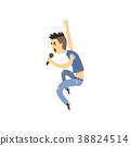 Teenager singer sing in microphone. Vocalist of 38824514