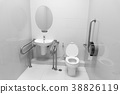 Inside disable toilet , black and white background 38826119