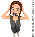 3D Business woman with mouth covered by tape 38826144