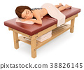 3D Woman relaxed and lying on a massage table 38826145