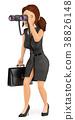 3D Business woman looking through a binoculars 38826148