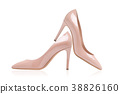 Lacquered shoes with beige high-heeled shoes 38826160